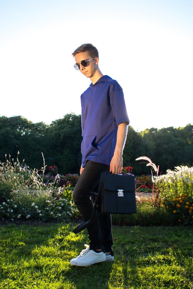 Balazs Zsalek Cornflower Blue Hoody and Cross Body Bag. 2