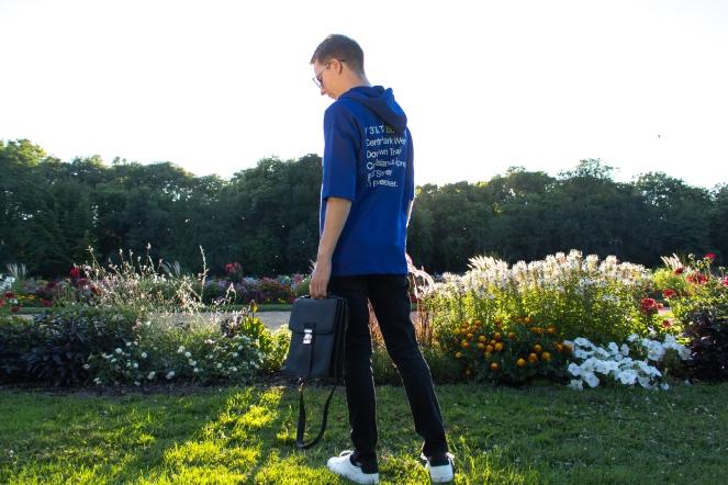 Balazs Zsalek Cornflower Blue Hoody and Cross Body Bag.8